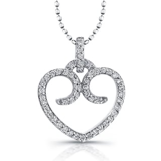 Sterling Silver 1/6ct TDW Diamond Swirl Heart Necklace(J-K, I2-I3)
