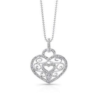 Sterling Silver 3/8ct TDW Diamond Swirl Vintage Heart Necklace (J-K, I2-I3)