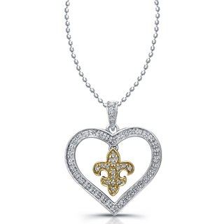 Sterling Silver and 14k Yellow Gold 1/5ct TDW Diamond Heart Dangling Fleur de Lis Necklace  K, I2-