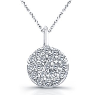 Victoria Kay 14k White Gold 1/10ct TDW Diamond Pave Disc Necklace (J-K, I2-I3)