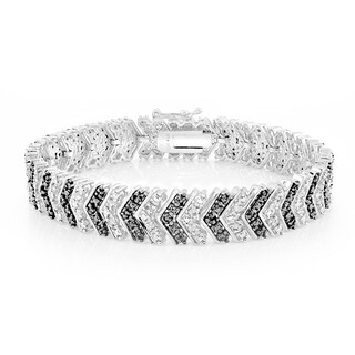 DB Designs 1ct TDW Black or Blue Diamond Chevron Bracelet