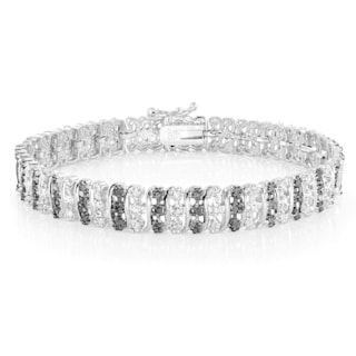 DB Designs 1.00ct TDW Black or Blue Diamond S Tennis Bracelet