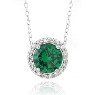 Glitzy Rocks Sterling Silver Created Emerald and Cubic Zirconia Round Slide Necklace