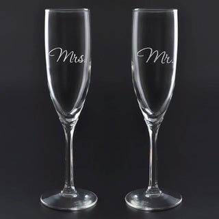 Culver Deep Etched Mr. and Mrs. 2-piece Flute Set