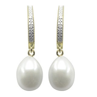 14k Yellow Gold over Silver White Freshwater Pearl Diamond Accent Earrings (8.5-9 mm) (I-J, I3)
