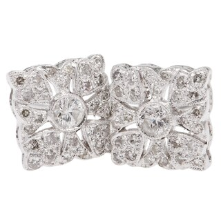 14k White Gold 1/2ct TDW Clustered Diamonds Square Stud Earrings (H-I, I1-I2)