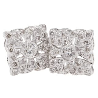 14k White Gold 1/2ct TDW Clustered Diamonds Square Stud Earrings (H-I, I1-I2)|https://ak1.ostkcdn.com/images/products/10131119/P17268314.jpg?impolicy=medium