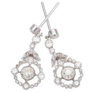 18k White Gold 1 1/4ct TDW Dangling Diamond Earrings (H-I, SI1-SI2)