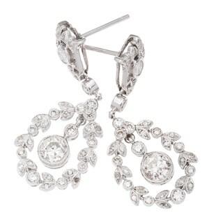 18k White Gold 2ct TDW Hanging Wreath Diamond Earrings (H-I, SI3)