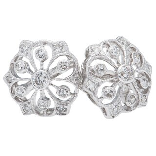 14k White Gold 2/5ct TDW Floral Clustered Diamond Stud Earrings (H-I, SI1-SI2)