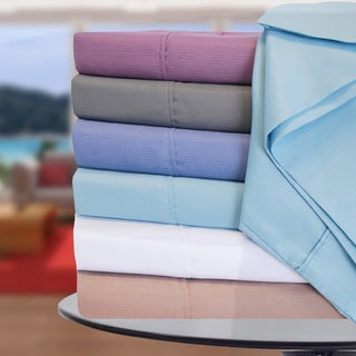 Superior Wrinkle Resistant Basket Weave Deep Pocket Microfiber Sheet Set