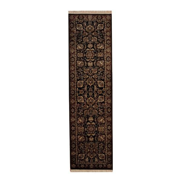 Indo Persian Tabriz Wool Area Rug: Shop Handmade Herat Oriental Indo Tabriz Black/ Burgundy