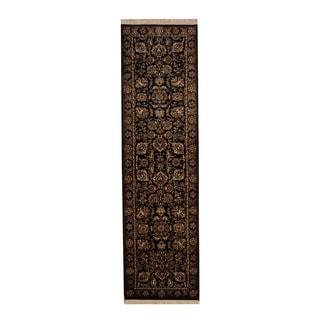 Herat Oriental Indo Hand-knotted Tabriz Black/ Burgundy Wool Rug (2'9 x 9'10)