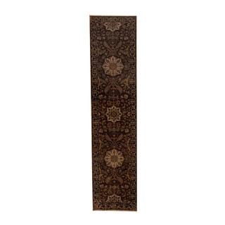 Herat Oriental Indo Hand-knotted Tabriz Rust/ Brown Wool Rug (2'4 x 10')