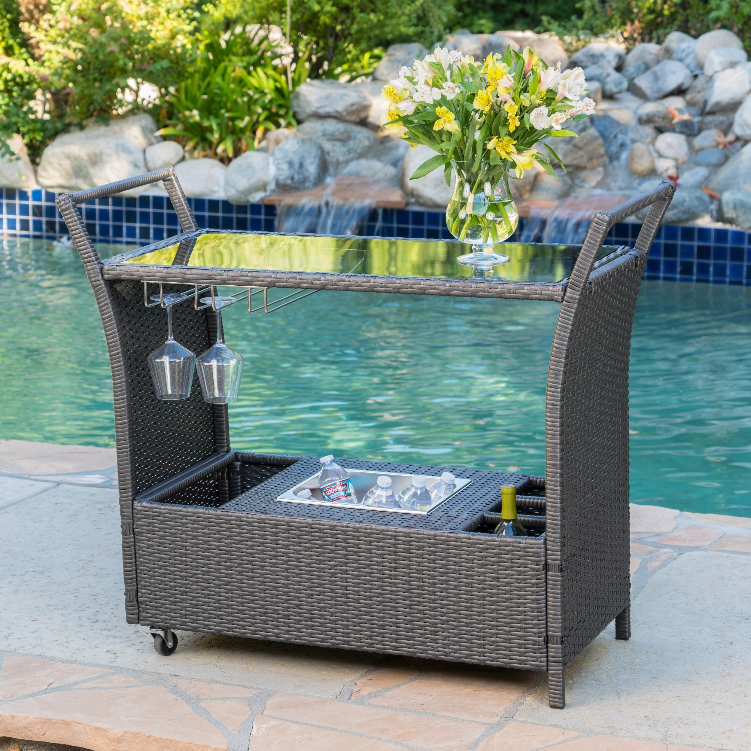 Bahama Outdoor Aluminum Bar Cart by Christopher Knight Ho...
