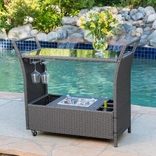 Bahama Outdoor Aluminum Bar Cart by Christopher Knight Home
