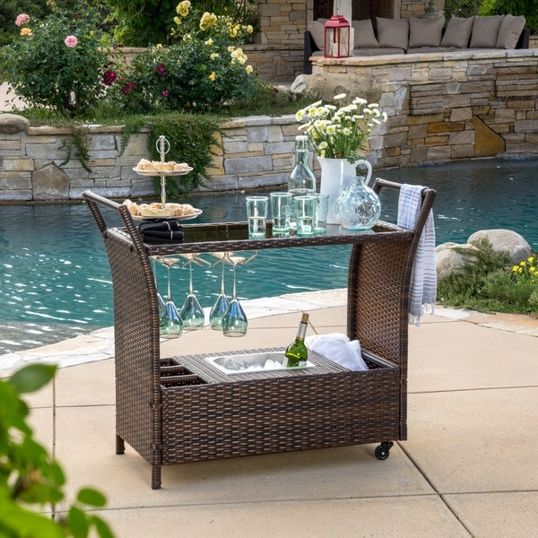 Bahama Outdoor Wicker Bar Cart with Tempered Glass Top by Christopher Knight Home