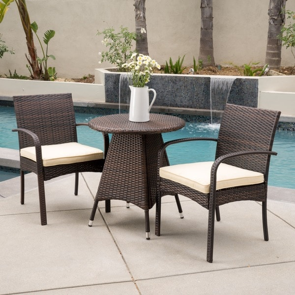 Peterson Outdoor 3 Piece Wicker Bistro Set With Cushions By Christopher  Knight Home