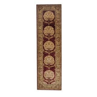 Herat Oriental Afghan Hand-knotted Vegetable Dye Oushak Wool Runner (2'11 x 10'1)