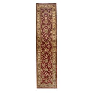Herat Oriental Afghan Hand-knotted Vegetable Dye Oushak Red/ Ivory Wool Rug (2'7 x 10'8)