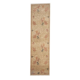 Herat Oriental Afghan Hand-knotted Vegetable Dye Oushak Wool Runner (2'10 x 10'4)