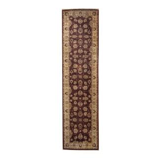 Herat Oriental Afghan Hand-knotted Vegetable Dye Oushak Burgundy/ Ivory Wool Rug (2'7 x 10'1)