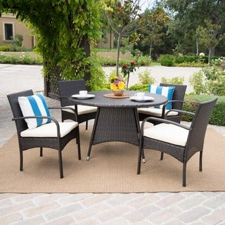 Christopher Knight Home Theodore Outdoor 5-piece Wicker Dining Set with Cushion