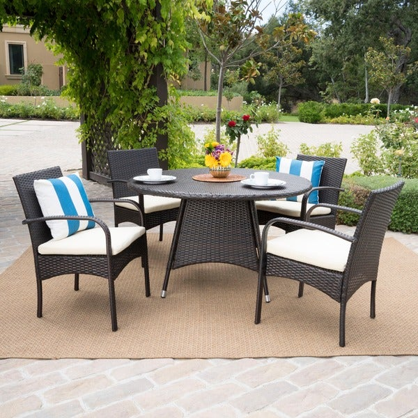 Theodore Outdoor 5 Piece Wicker Dining Set With Cushion By Christopher Knight Home