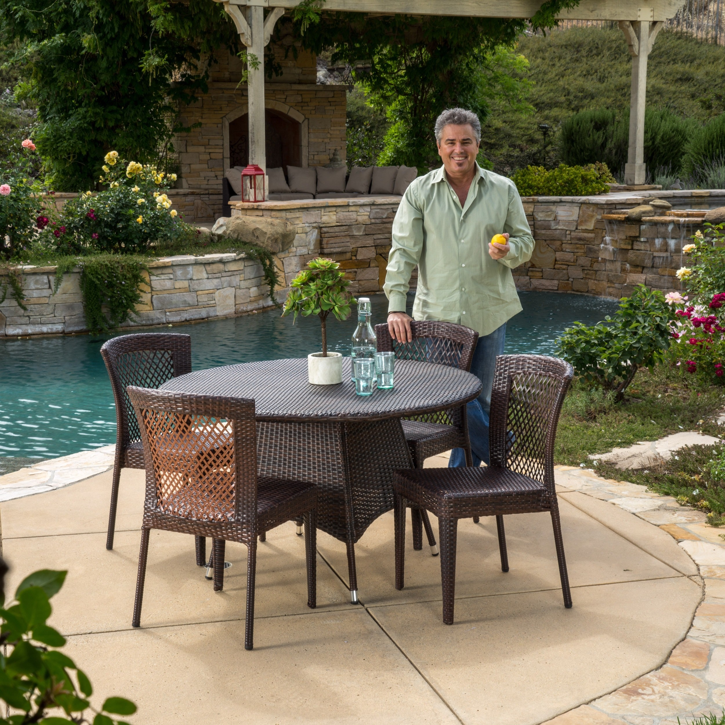 Bertha Outdoor 5-piece Wicker Dining Set by Christopher K...
