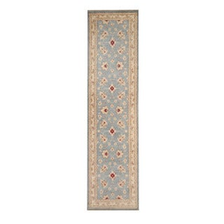 Herat Oriental Afghan Hand-knotted Vegetable Dye Oushak Light Blue/ Ivory Wool Rug (2'6 x 10')