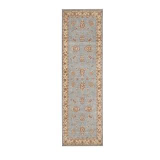 Herat Oriental Afghan Hand-knotted Vegetable Dye Oushak Light Blue/ Ivory Wool Rug (2'8 x 8'10)