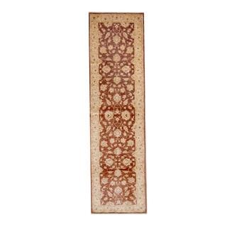 Herat Oriental Afghan Hand-knotted Vegetable Dye Oushak Brown/ Ivory Wool Rug (2'8 x 9'5)