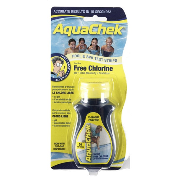 AquaChek Yellow 4-in-1 Free Chlorine Test Strips for Swimming Pools