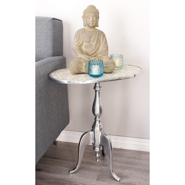 Contemporary 22 Inch Glass and Metal Mosaic Accent Table by Studio 350