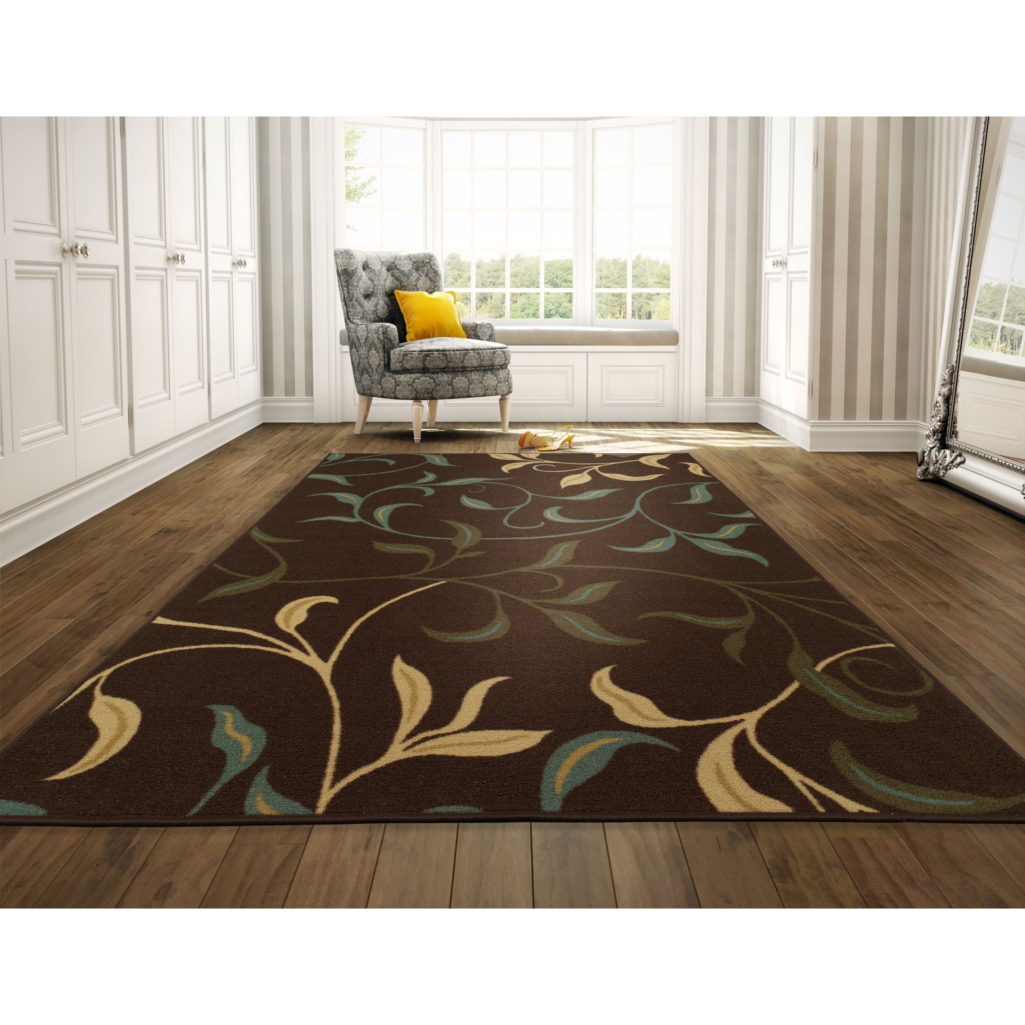 Ottomanson Ottohome Contemporary Leaves Design Modern Cho...