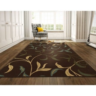 Ottomanson Ottohome Contemporary Leaves Design Modern Chocolate Area Rug with Non-skid Rubber Backing (8' x 10')