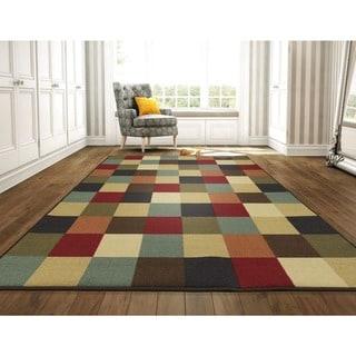 Ottomanson Ottohome Collection Multi-Color Contemporary Checkered Design Area Rug (8'2 x 9'10)