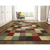 "Ottomanson Ottohome Collection Multicolor Contemporary Checkered Design Area Rug - 8'2"" x 9'10"""
