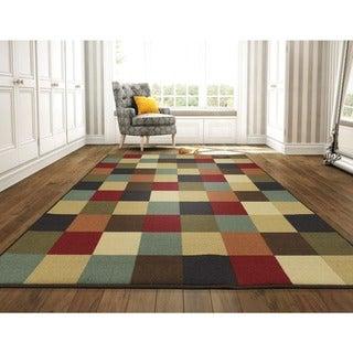 """Ottomanson Ottohome Collection Multicolor Contemporary Checkered Design Area Rug - Multi-color - 8'2"""" x 9'10"""""""