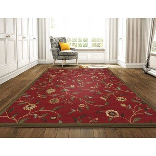 Ottomanson Ottohome Collection Dark Red Floral Garden Design Area Rug (8'2 x 9'10)
