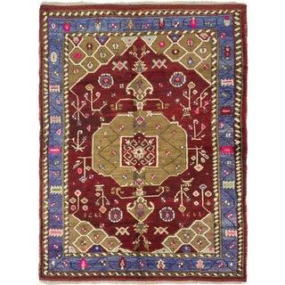 Ecarpetgallery Konya Anatolian Dark Red, Khaki Wool Medallion Corners Rug (5'6 x 7'4)