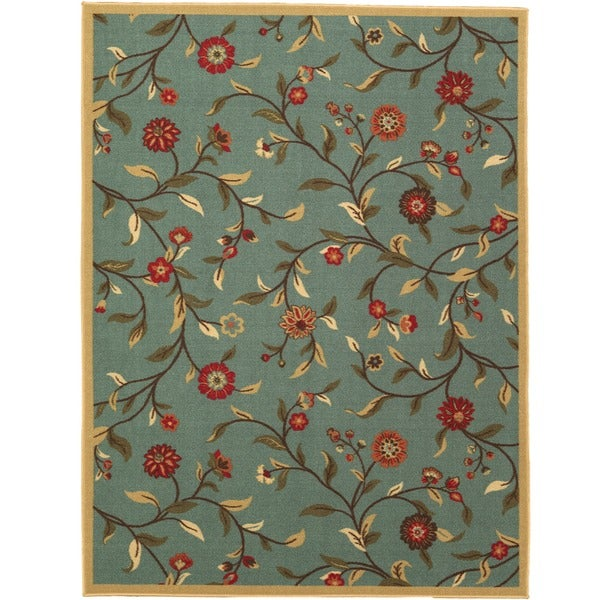 Ottomanson Ottohome Collection Sage Green Floral Garden Design Area Rug  With Non Skid Rubber Backing (8u0027 X 10u0027)   Free Shipping Today    Overstock.com   ...