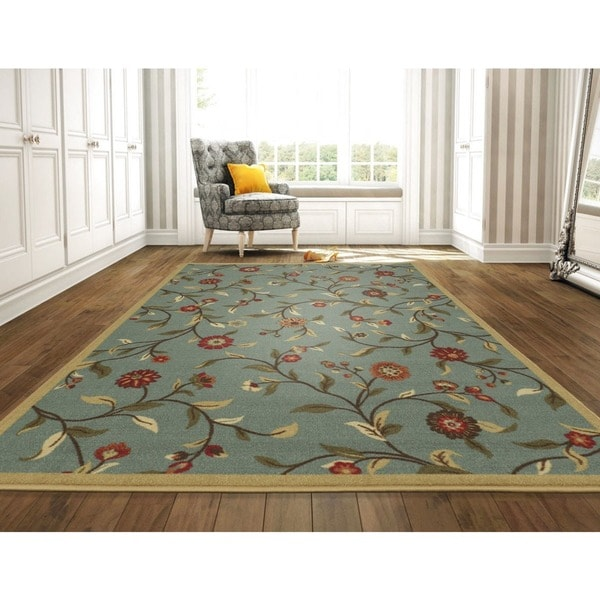"Ottomanson Ottohome Collection Seafoam Floral Garden Design Area Rug with Non-skid Rubber Backing - 8'2"" x 9'10"""
