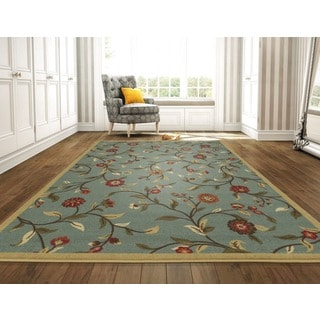 Ottomanson Ottohome Collection Sage Green Floral Garden Design Area Rug with Non-skid Rubber Backing (8' x 10')