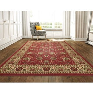 Ottomanson Ottohome Collection Dark Red Traditional Floral Design Area Rug (8'2 x 9'10)