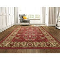 Ottomanson Ottohome Persian Style Rug Red Area Rug with Non-skid Rubber Backing - 8'2 x 9'10