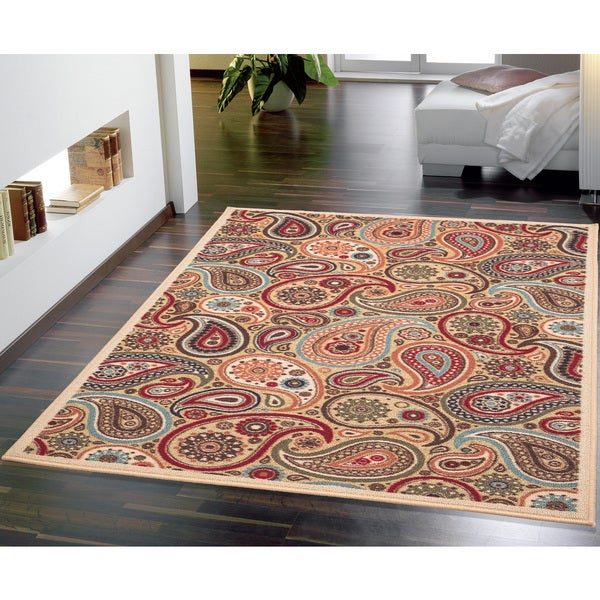 Paisley Area Rugs: Ottomanson Ottohome Collection Beige Contemporary Paisley