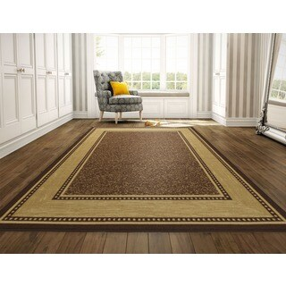 Ottomanson Ottohome Contemporary Bordered Design Modern Chocolate Area Rug with Non-skid Rubber Backing (8' x 10')