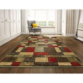 Ottomanson Ottohome Collection Multi-Color Contemporary Boxes Design Area Rug (8'2 x 9'10)