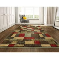 "Ottomanson Ottohome Collection Multicolor Contemporary Boxes Design Area Rug - 8'2"" x 9'10"""